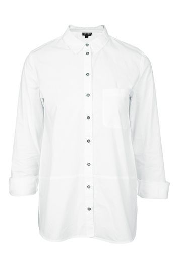 Crisp Tailored Button Down Shirt - neckline: shirt collar/peter pan/zip with opening; pattern: plain; style: shirt; predominant colour: white; occasions: casual, creative work; length: standard; fibres: cotton - 100%; fit: straight cut; sleeve length: 3/4 length; sleeve style: standard; texture group: sheer fabrics/chiffon/organza etc.; pattern type: fabric; trends: tomboy girl; season: s/s 2016