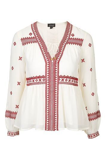 Embroidered Smock Top - neckline: v-neck; sleeve style: balloon; style: blouse; predominant colour: white; secondary colour: burgundy; occasions: casual, holiday; length: standard; fibres: cotton - 100%; fit: loose; sleeve length: long sleeve; texture group: cotton feel fabrics; pattern type: fabric; pattern: patterned/print; embellishment: embroidered; trends: fashion girl; season: s/s 2016