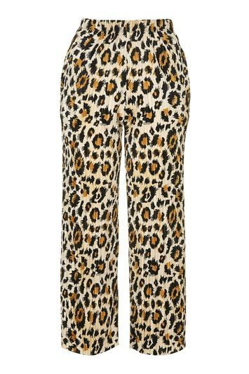 Leopard Print Cropped Trouser - length: standard; waist detail: elasticated waist; waist: mid/regular rise; predominant colour: camel; secondary colour: black; occasions: casual; fibres: polyester/polyamide - 100%; fit: straight leg; pattern type: fabric; pattern: animal print; texture group: woven light midweight; style: standard; pattern size: light/subtle (bottom); season: s/s 2016; wardrobe: highlight