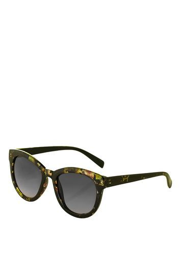 Waverly Square Sunglasses - predominant colour: khaki; occasions: casual, holiday; style: round; size: standard; material: plastic/rubber; pattern: tortoiseshell; finish: plain; season: s/s 2016; wardrobe: basic