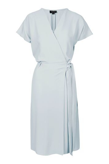 Petite Wrap Midi Dress - style: faux wrap/wrap; neckline: low v-neck; fit: fitted at waist; pattern: plain; waist detail: belted waist/tie at waist/drawstring; predominant colour: pale blue; length: just above the knee; fibres: polyester/polyamide - stretch; sleeve length: short sleeve; sleeve style: standard; pattern type: fabric; texture group: other - light to midweight; occasions: creative work; trends: chic girl; season: s/s 2016; wardrobe: highlight
