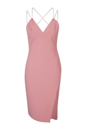 Eyelet Plunge Midi Dress - style: shift; neckline: low v-neck; sleeve style: spaghetti straps; fit: tailored/fitted; pattern: plain; hip detail: draws attention to hips; predominant colour: pink; occasions: evening; length: on the knee; fibres: polyester/polyamide - stretch; back detail: crossover; sleeve length: sleeveless; texture group: crepes; pattern type: fabric; trends: glossy girl; season: s/s 2016; wardrobe: event