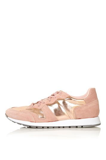 Charlie Vintage Trainers - predominant colour: pink; secondary colour: gold; occasions: casual, creative work; material: suede; heel height: flat; toe: round toe; style: trainers; finish: plain; pattern: colourblock; shoe detail: moulded soul; trends: tomboy girl; season: s/s 2016; wardrobe: highlight