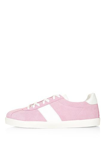 Caper Lace Up Trainers - secondary colour: white; predominant colour: pink; occasions: casual; material: suede; heel height: flat; toe: round toe; style: trainers; finish: plain; pattern: plain; shoe detail: moulded soul; trends: tomboy girl; season: s/s 2016; wardrobe: highlight