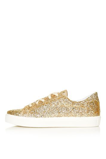 Cyprus Glitter Trainers - predominant colour: gold; occasions: casual; material: fabric; heel height: flat; embellishment: glitter; toe: round toe; style: trainers; finish: metallic; pattern: plain; shoe detail: moulded soul; season: s/s 2016; trends: metallics