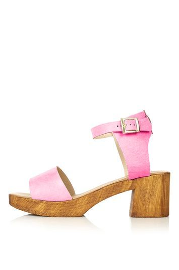 Dupe Heeled Sandal - predominant colour: pink; occasions: casual, creative work; material: fabric; heel height: mid; ankle detail: ankle strap; heel: block; toe: open toe/peeptoe; style: strappy; finish: plain; pattern: plain; season: s/s 2016; wardrobe: highlight