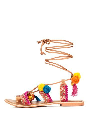 Ivy Embellished Sandal - predominant colour: hot pink; secondary colour: camel; material: leather; heel height: flat; ankle detail: ankle strap; heel: standard; toe: open toe/peeptoe; style: strappy; occasions: holiday; finish: plain; pattern: patterned/print; multicoloured: multicoloured; season: s/s 2016; wardrobe: highlight