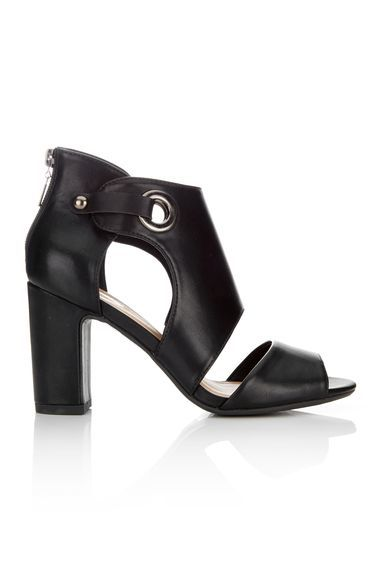 Black Cuff Blook Heel Sandal - predominant colour: black; occasions: evening, work, creative work; material: faux leather; heel height: high; ankle detail: ankle strap; heel: block; toe: open toe/peeptoe; style: strappy; finish: plain; pattern: plain; season: s/s 2016; wardrobe: investment