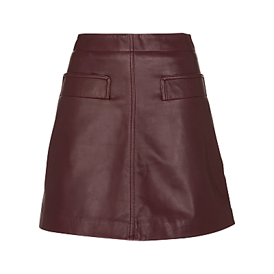 Rita Leather Skirt - length: mid thigh; pattern: plain; fit: loose/voluminous; waist: high rise; predominant colour: burgundy; occasions: casual, creative work; style: a-line; fibres: leather - 100%; texture group: leather; pattern type: fabric; season: s/s 2016; wardrobe: highlight