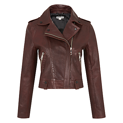 Maya Leather Jacket, Burgundy - pattern: plain; style: biker; collar: asymmetric biker; fit: slim fit; predominant colour: burgundy; occasions: casual, creative work; length: standard; fibres: leather - 100%; sleeve length: long sleeve; sleeve style: standard; texture group: leather; collar break: high/illusion of break when open; pattern type: fabric; season: s/s 2016; wardrobe: highlight