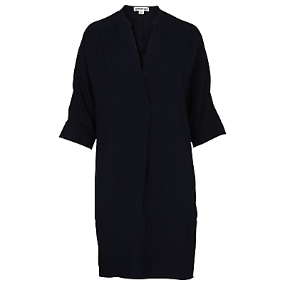 Lulu Dress, Navy - style: shift; length: mid thigh; sleeve style: dolman/batwing; pattern: plain; predominant colour: navy; fit: straight cut; neckline: collarstand & mandarin with v-neck; fibres: polyester/polyamide - mix; sleeve length: 3/4 length; texture group: crepes; pattern type: fabric; occasions: creative work; season: s/s 2016; wardrobe: investment