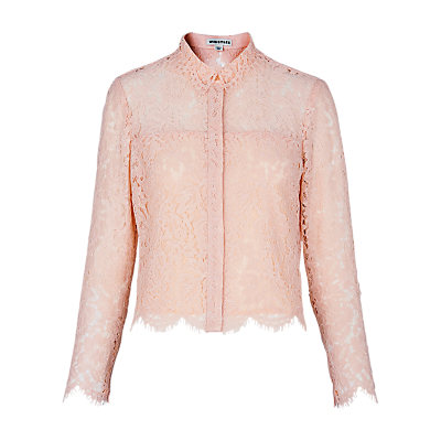 Chay Lace Shirt, Pale Pink - neckline: shirt collar/peter pan/zip with opening; style: shirt; predominant colour: blush; occasions: evening, creative work; length: standard; fibres: polyester/polyamide - 100%; fit: straight cut; sleeve length: long sleeve; sleeve style: standard; texture group: lace; pattern type: fabric; pattern size: standard; pattern: patterned/print; season: s/s 2016; wardrobe: highlight