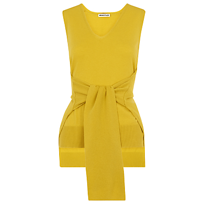 Tie Front Sleeveless Knit, Yellow - neckline: v-neck; pattern: plain; sleeve style: sleeveless; style: vest top; waist detail: belted waist/tie at waist/drawstring; predominant colour: yellow; occasions: casual; length: standard; fibres: wool - 100%; fit: body skimming; sleeve length: sleeveless; texture group: knits/crochet; pattern type: knitted - other; season: s/s 2016; wardrobe: highlight