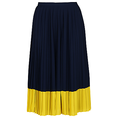 Colour Block Pleat Skirt, Navy/Yellow - length: below the knee; fit: loose/voluminous; style: pleated; waist detail: elasticated waist; waist: mid/regular rise; predominant colour: navy; secondary colour: yellow; occasions: evening; fibres: polyester/polyamide - 100%; hip detail: subtle/flattering hip detail; pattern type: fabric; pattern: colourblock; texture group: other - light to midweight; season: s/s 2016; wardrobe: event