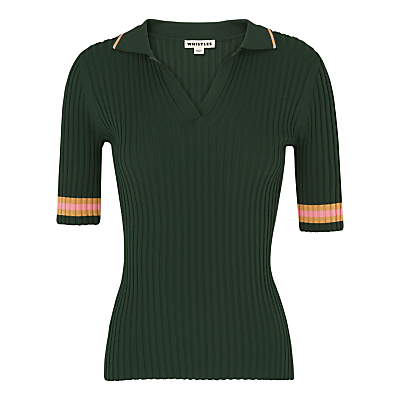 Tipped Stripe Polo Shirt, Dark Green - neckline: shirt collar/peter pan/zip with opening; pattern: horizontal stripes; style: polo shirt; predominant colour: dark green; secondary colour: bright orange; occasions: casual, creative work; length: standard; fit: tight; sleeve length: half sleeve; sleeve style: standard; texture group: jersey - clingy; pattern type: fabric; pattern size: light/subtle; fibres: viscose/rayon - mix; season: s/s 2016; wardrobe: highlight