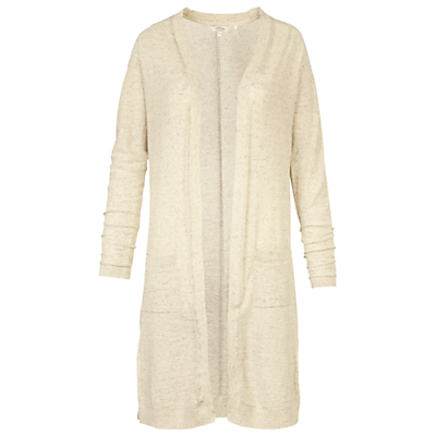 Longline Shenley Cardigan, Ivory - pattern: plain; neckline: collarless open; length: below the knee; predominant colour: ivory/cream; occasions: casual, creative work; style: standard; fibres: cotton - 100%; fit: loose; sleeve length: long sleeve; sleeve style: standard; texture group: knits/crochet; pattern type: knitted - fine stitch; season: s/s 2016