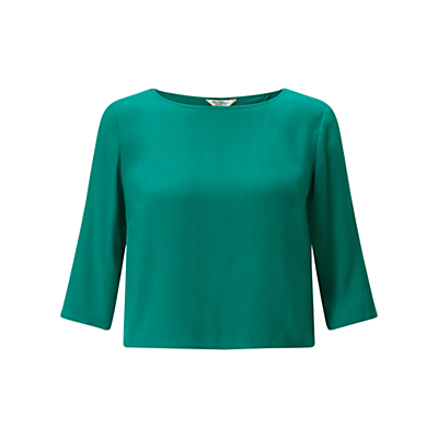 Wrap Back Tee, Jade - pattern: plain; predominant colour: emerald green; occasions: casual; length: standard; style: top; fibres: viscose/rayon - 100%; fit: straight cut; neckline: crew; sleeve length: 3/4 length; sleeve style: standard; pattern type: fabric; texture group: woven light midweight; season: s/s 2016; wardrobe: highlight