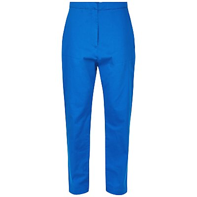 Patch Pocket Cropped Trousers, Bright Blue - pattern: plain; waist: high rise; predominant colour: diva blue; length: ankle length; fibres: cotton - stretch; fit: slim leg; pattern type: fabric; texture group: other - light to midweight; style: standard; occasions: creative work; season: s/s 2016; wardrobe: highlight
