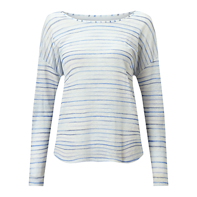 Slouchy Linen Stripe T Shirt - neckline: slash/boat neckline; pattern: horizontal stripes; style: t-shirt; predominant colour: pale blue; secondary colour: denim; occasions: casual; length: standard; fibres: linen - 100%; fit: body skimming; sleeve length: long sleeve; sleeve style: standard; texture group: linen; pattern type: fabric; pattern size: big & busy (top); season: s/s 2016; wardrobe: highlight