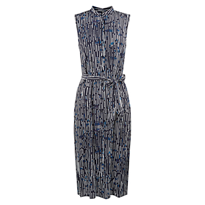 Harriete Dress, Navy/Multi - style: shirt; length: below the knee; fit: fitted at waist; sleeve style: sleeveless; waist detail: belted waist/tie at waist/drawstring; secondary colour: white; predominant colour: navy; neckline: collarstand; fibres: polyester/polyamide - 100%; sleeve length: sleeveless; pattern type: fabric; pattern: patterned/print; texture group: woven light midweight; occasions: creative work; season: s/s 2016; wardrobe: highlight