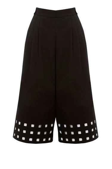 Square Cutwork Culotte - waist: high rise; predominant colour: black; length: calf length; fibres: cotton - 100%; fit: wide leg; pattern type: fabric; pattern: patterned/print; texture group: other - light to midweight; style: standard; occasions: creative work; season: s/s 2016