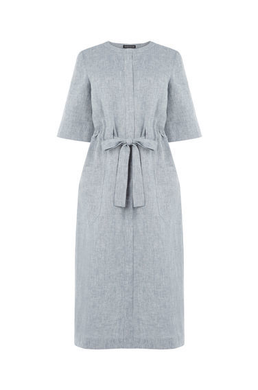 Linen Mix Belted Dress - style: shift; pattern: plain; waist detail: belted waist/tie at waist/drawstring; predominant colour: light grey; occasions: casual; length: on the knee; fit: body skimming; fibres: linen - mix; neckline: crew; sleeve length: half sleeve; sleeve style: standard; texture group: linen; pattern type: fabric; season: s/s 2016; wardrobe: basic