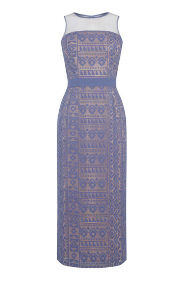 Lace Pencil Dress - style: shift; length: calf length; fit: tailored/fitted; sleeve style: sleeveless; secondary colour: white; predominant colour: denim; occasions: evening; fibres: polyester/polyamide - 100%; neckline: crew; sleeve length: sleeveless; texture group: lace; pattern type: fabric; pattern size: standard; pattern: patterned/print; embellishment: lace; multicoloured: multicoloured; season: s/s 2016