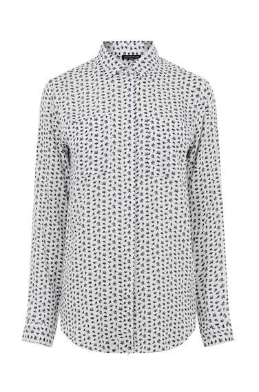 Squiggle Print Shirt - neckline: shirt collar/peter pan/zip with opening; length: below the bottom; style: shirt; secondary colour: navy; predominant colour: light grey; occasions: casual, creative work; fibres: polyester/polyamide - 100%; fit: straight cut; sleeve length: long sleeve; sleeve style: standard; pattern type: fabric; pattern size: standard; pattern: patterned/print; texture group: other - light to midweight; season: s/s 2016; wardrobe: highlight