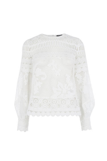 Panelled Lace Top - predominant colour: white; occasions: casual, creative work; length: standard; style: top; fibres: polyester/polyamide - 100%; fit: body skimming; neckline: crew; sleeve length: long sleeve; sleeve style: standard; texture group: lace; pattern type: fabric; pattern size: standard; pattern: patterned/print; embellishment: lace; season: s/s 2016; wardrobe: highlight
