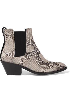 Dixon Snake Effect Leather Ankle Boots Gray - predominant colour: charcoal; secondary colour: light grey; occasions: casual, creative work; material: leather; heel height: mid; heel: block; toe: pointed toe; boot length: ankle boot; style: cowboy; finish: plain; pattern: animal print; season: s/s 2016; wardrobe: highlight