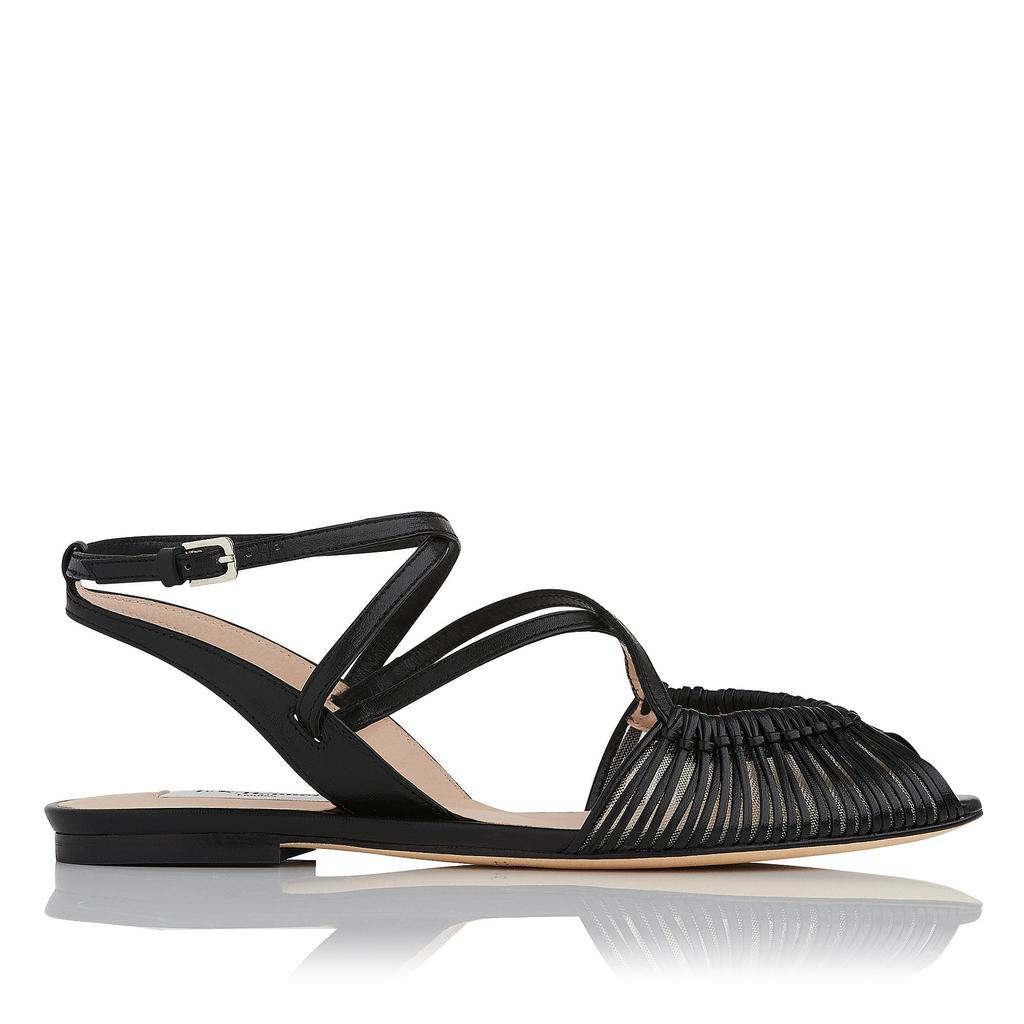 Sara Black Flat Sandals Black - predominant colour: black; occasions: casual, holiday; material: leather; heel height: flat; ankle detail: ankle strap; heel: block; toe: open toe/peeptoe; style: strappy; finish: plain; pattern: plain; season: s/s 2016