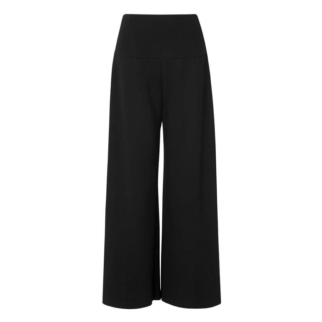 Ondria Wide Leg Culottes Trouser Black - length: standard; pattern: plain; style: palazzo; waist: mid/regular rise; predominant colour: black; occasions: evening; fibres: wool - 100%; fit: wide leg; pattern type: fabric; texture group: other - light to midweight; season: s/s 2016; wardrobe: event
