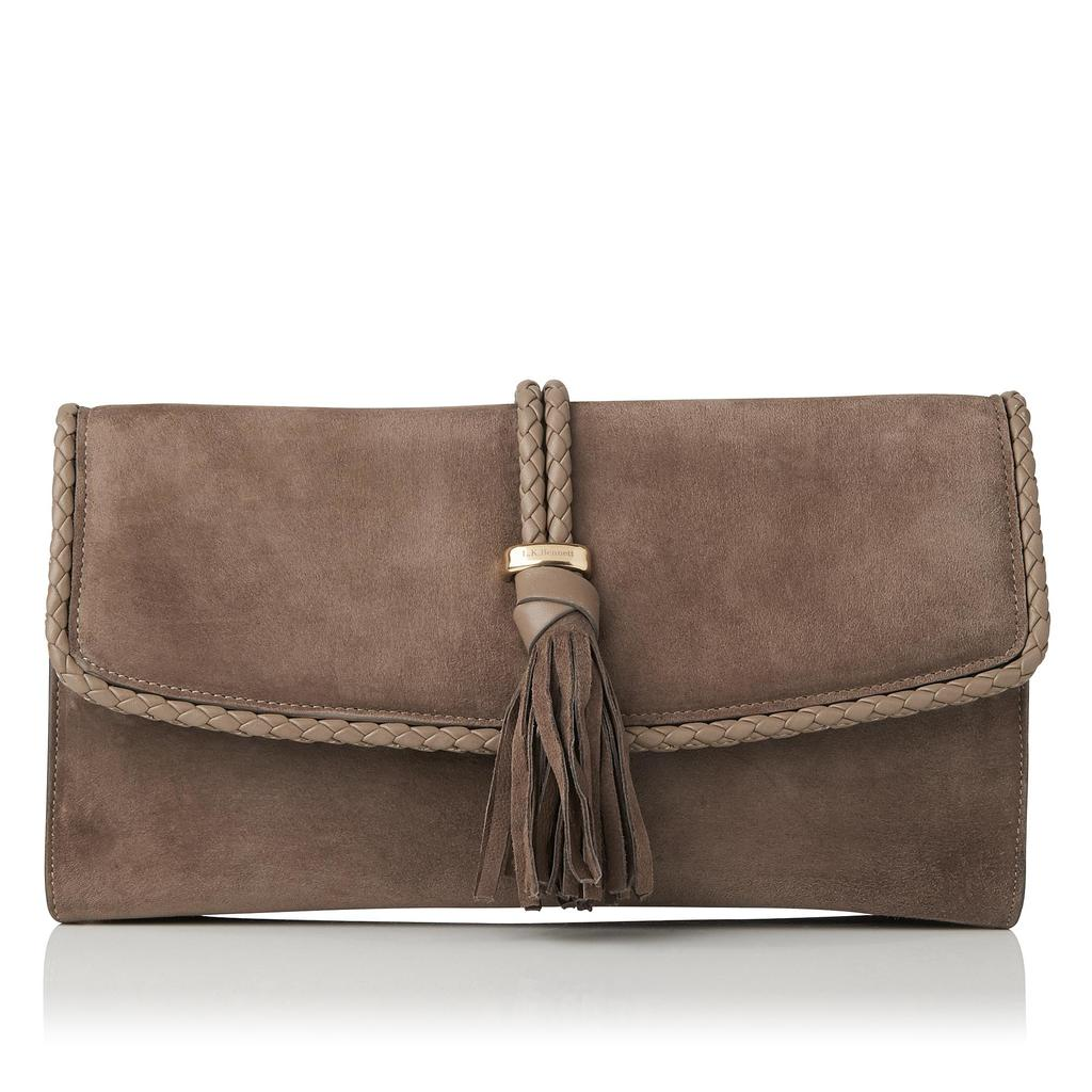 Tracy Leather Clutch - predominant colour: taupe; occasions: evening; type of pattern: standard; style: clutch; length: hand carry; size: small; material: leather; embellishment: tassels; pattern: plain; finish: plain; season: s/s 2016; wardrobe: event