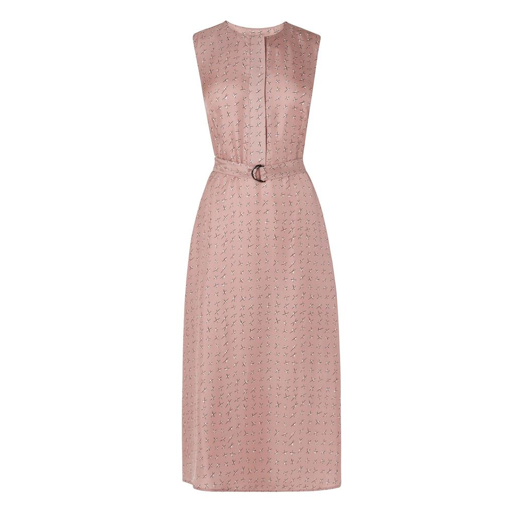 Lois Printed Silk Dress Pink Mink Pink - length: below the knee; sleeve style: sleeveless; waist detail: belted waist/tie at waist/drawstring; predominant colour: nude; occasions: evening; fit: fitted at waist & bust; style: fit & flare; fibres: silk - 100%; neckline: crew; sleeve length: sleeveless; pattern type: fabric; pattern: patterned/print; texture group: woven light midweight; season: s/s 2016; wardrobe: event