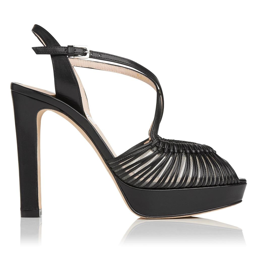Silvia Black Platform Sandals Black - predominant colour: black; occasions: evening, occasion; material: leather; ankle detail: ankle strap; heel: block; toe: open toe/peeptoe; style: strappy; finish: plain; pattern: plain; heel height: very high; shoe detail: platform; season: s/s 2016; wardrobe: event