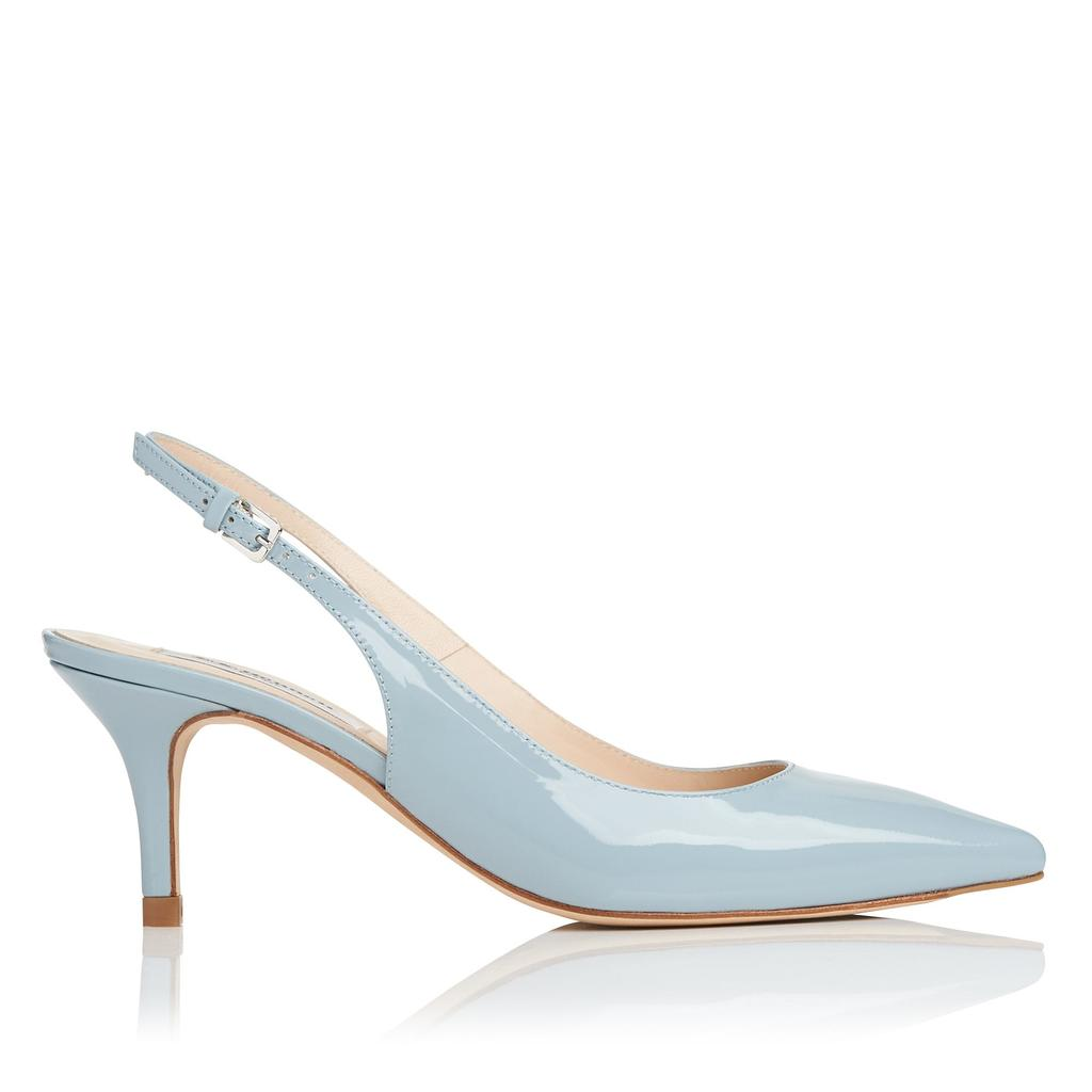 Florita Blue Patent Sling Backs Blue Eau - predominant colour: pale blue; occasions: evening; material: leather; heel height: mid; heel: stiletto; toe: pointed toe; style: slingbacks; finish: patent; pattern: plain; season: s/s 2016; wardrobe: event