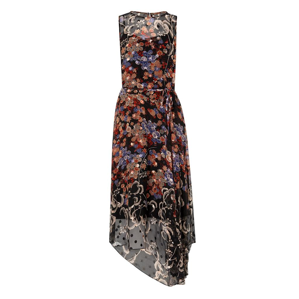 Camille Silk Printed Dress - length: calf length; sleeve style: sleeveless; waist detail: belted waist/tie at waist/drawstring; secondary colour: blush; predominant colour: black; occasions: evening; fit: body skimming; style: asymmetric (hem); fibres: silk - 100%; neckline: crew; sleeve length: sleeveless; texture group: sheer fabrics/chiffon/organza etc.; pattern type: fabric; pattern size: big & busy; pattern: florals; multicoloured: multicoloured; season: s/s 2016; trends: vivid mix; wardrobe: event