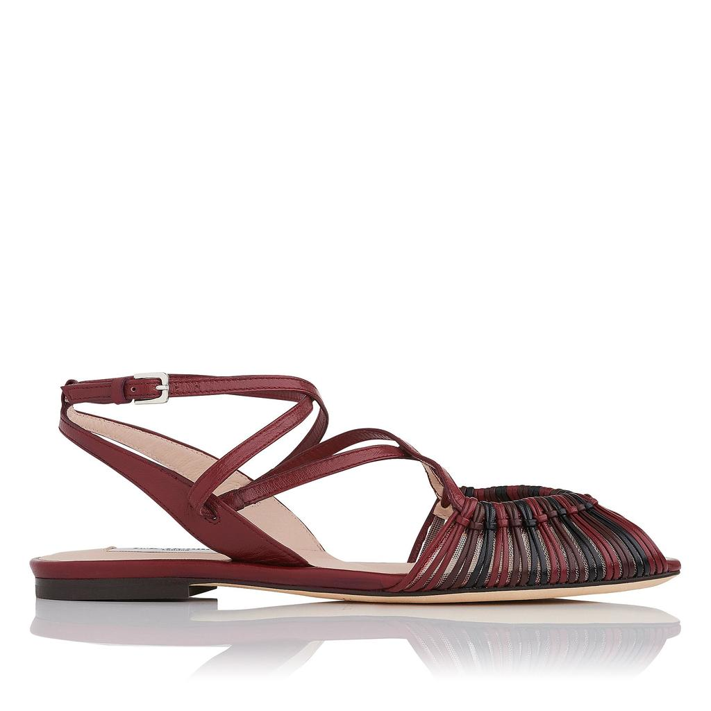 Sara Merlot Flat Sandals Red Merlot - predominant colour: burgundy; occasions: casual, holiday; material: leather; heel height: flat; ankle detail: ankle strap; heel: block; toe: open toe/peeptoe; style: strappy; finish: plain; pattern: plain; season: s/s 2016; wardrobe: highlight