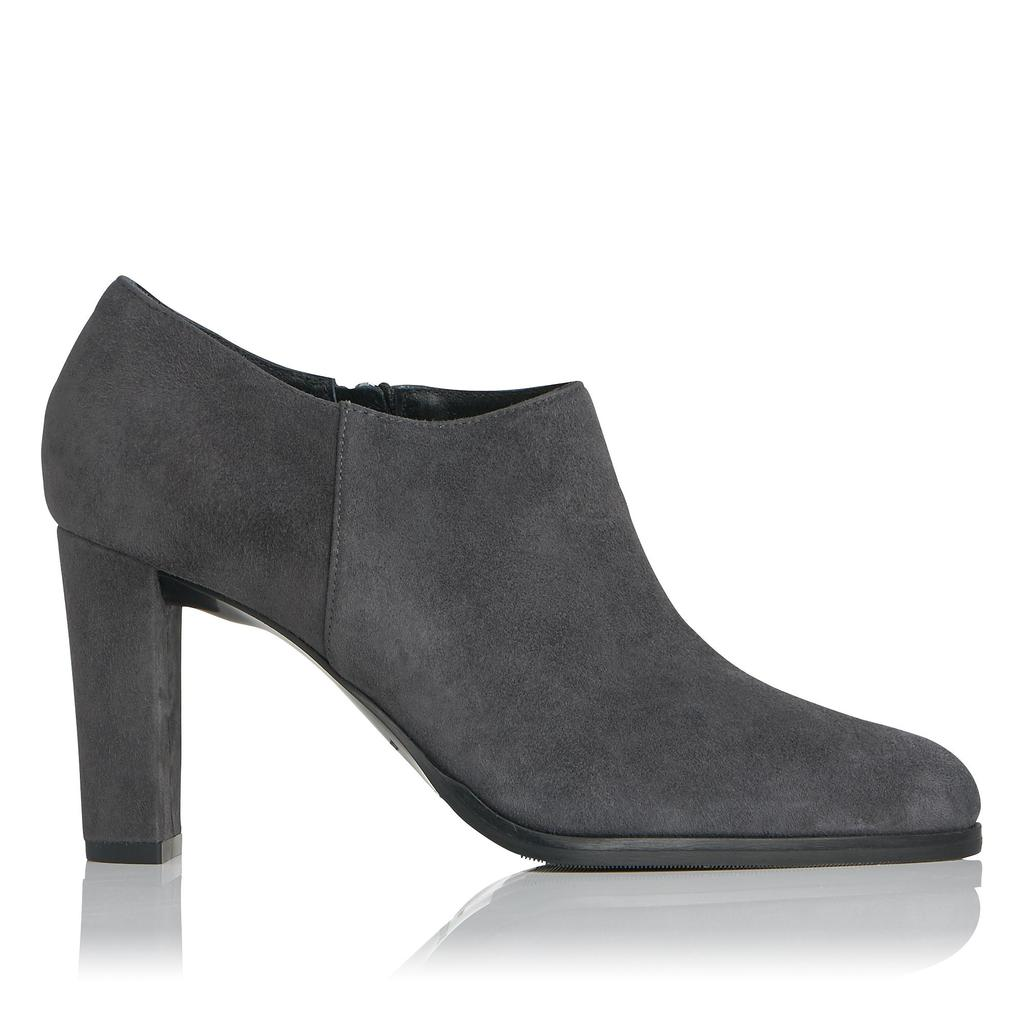 Leela Grey Suede Ankle Boots Grey Smoke - predominant colour: charcoal; occasions: casual; material: suede; heel height: high; heel: block; toe: pointed toe; boot length: ankle boot; style: standard; finish: plain; pattern: plain; season: s/s 2016; wardrobe: highlight