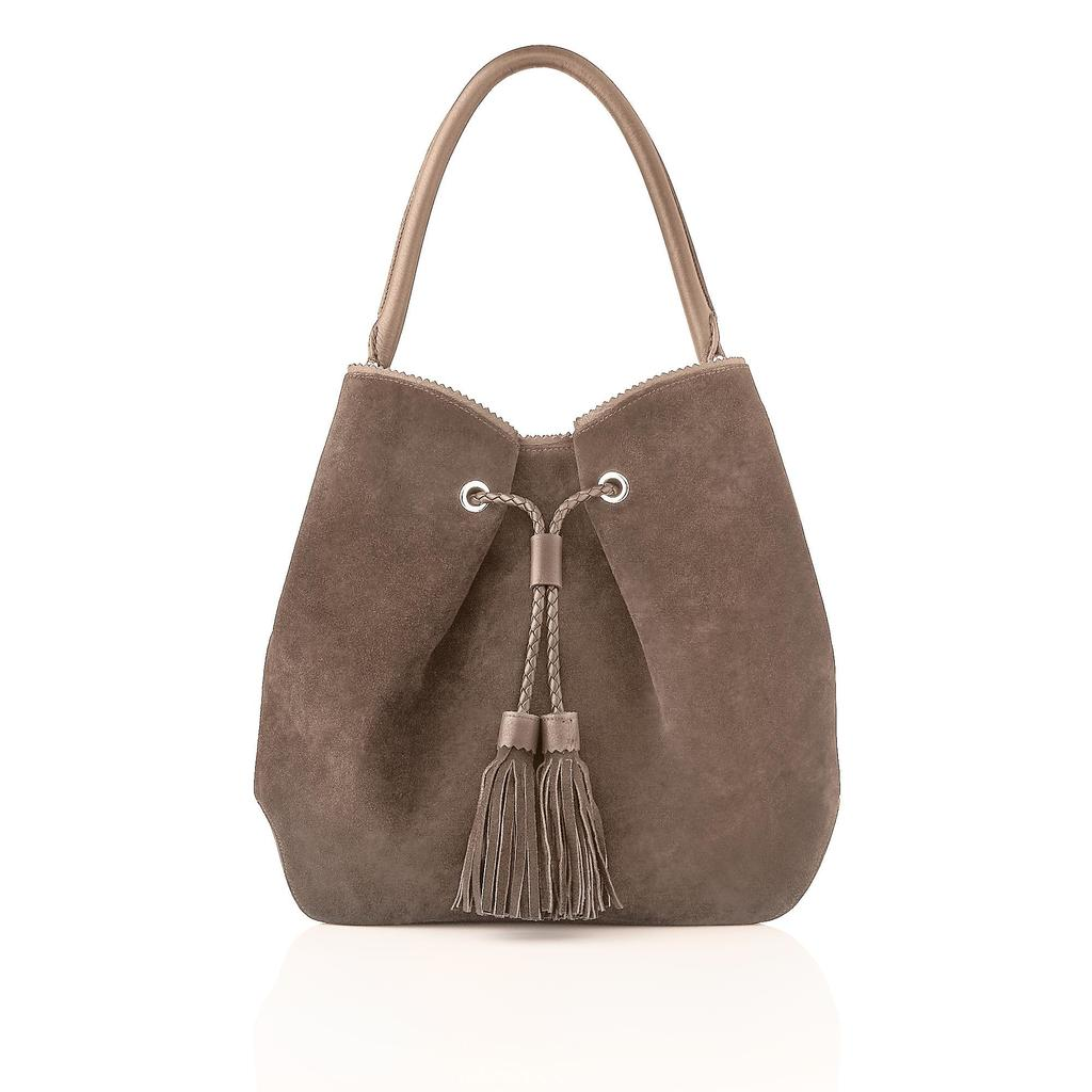 Thelma Leather Tote Bag Grey Taupe - predominant colour: nude; occasions: casual; type of pattern: standard; style: shoulder; length: shoulder (tucks under arm); size: standard; material: leather; embellishment: tassels; pattern: plain; finish: plain; season: s/s 2016; wardrobe: investment