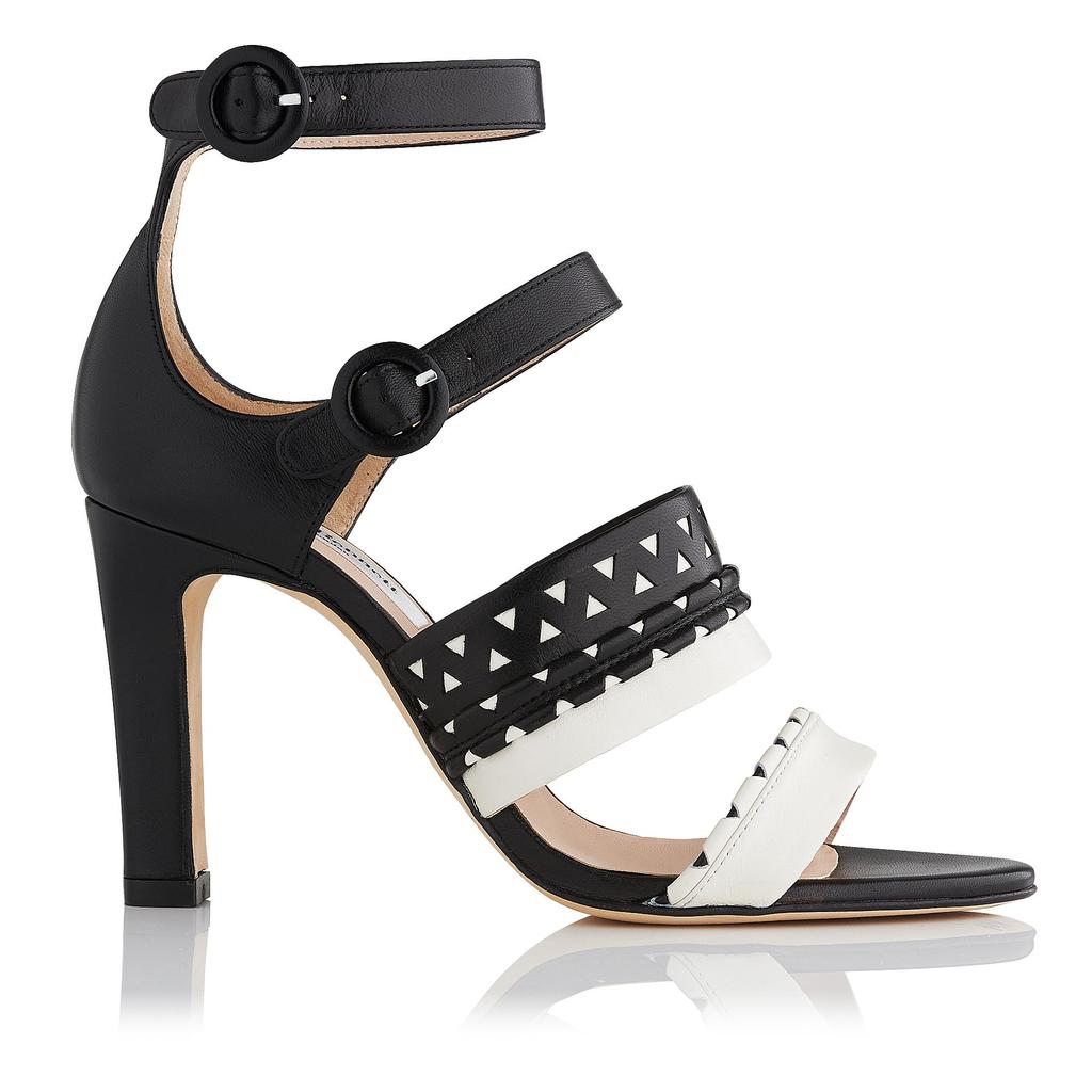 Lena High Heel Sandals Black Ivory Black - secondary colour: white; predominant colour: black; occasions: evening; material: leather; heel height: high; ankle detail: ankle strap; heel: block; toe: open toe/peeptoe; style: strappy; finish: plain; pattern: patterned/print; multicoloured: multicoloured; season: s/s 2016