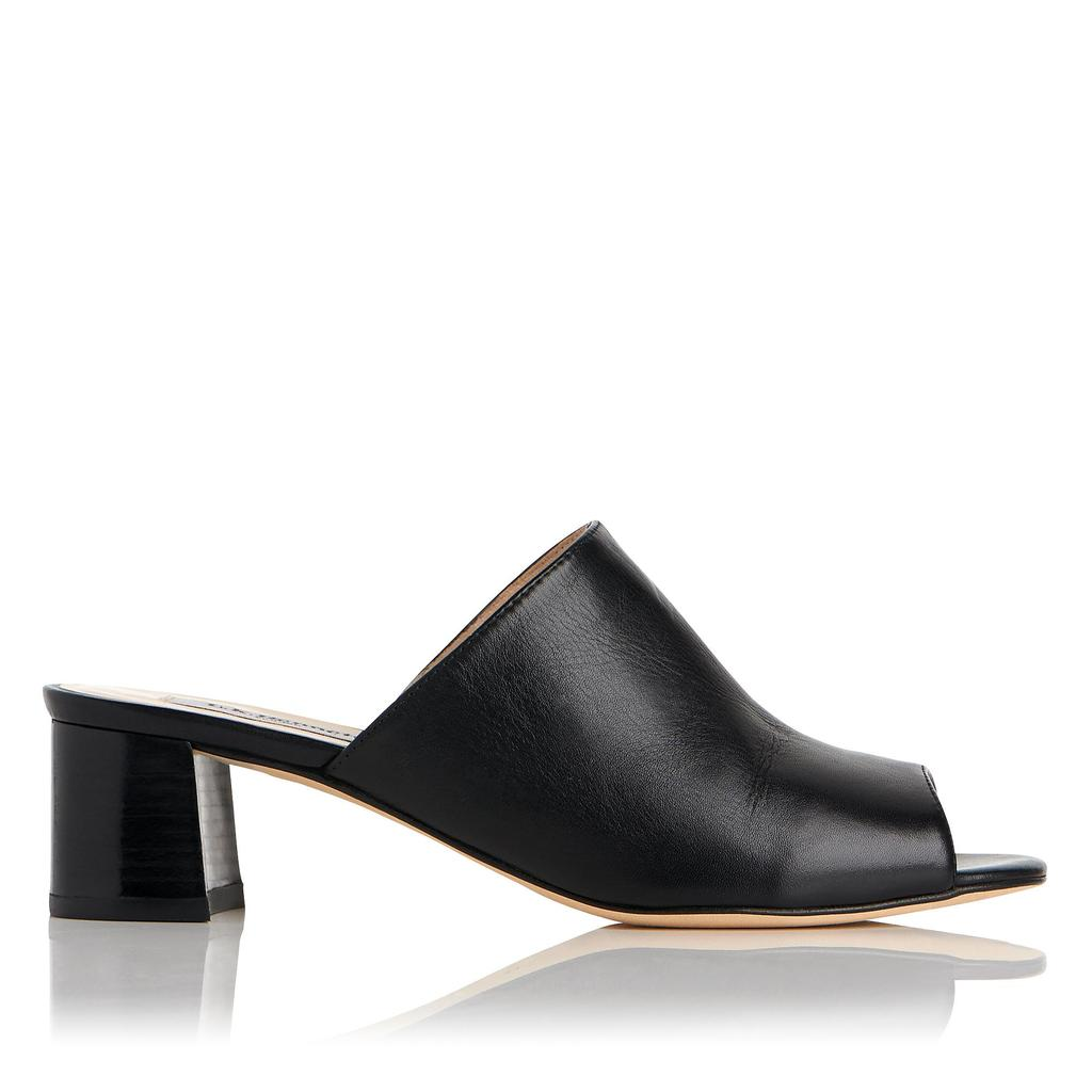Dana Black Leather Mules Black - predominant colour: black; occasions: casual; material: leather; heel height: mid; heel: block; toe: open toe/peeptoe; style: mules; finish: plain; pattern: plain; season: s/s 2016