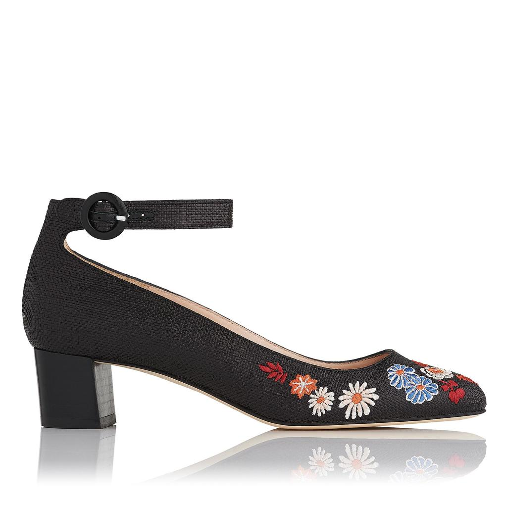 Peggy Raffia Embroidered Block Heels - secondary colour: pale blue; predominant colour: black; occasions: casual; material: fabric; heel height: mid; embellishment: embroidered; ankle detail: ankle strap; heel: block; toe: round toe; style: courts; finish: plain; pattern: florals; multicoloured: multicoloured; season: s/s 2016; wardrobe: highlight