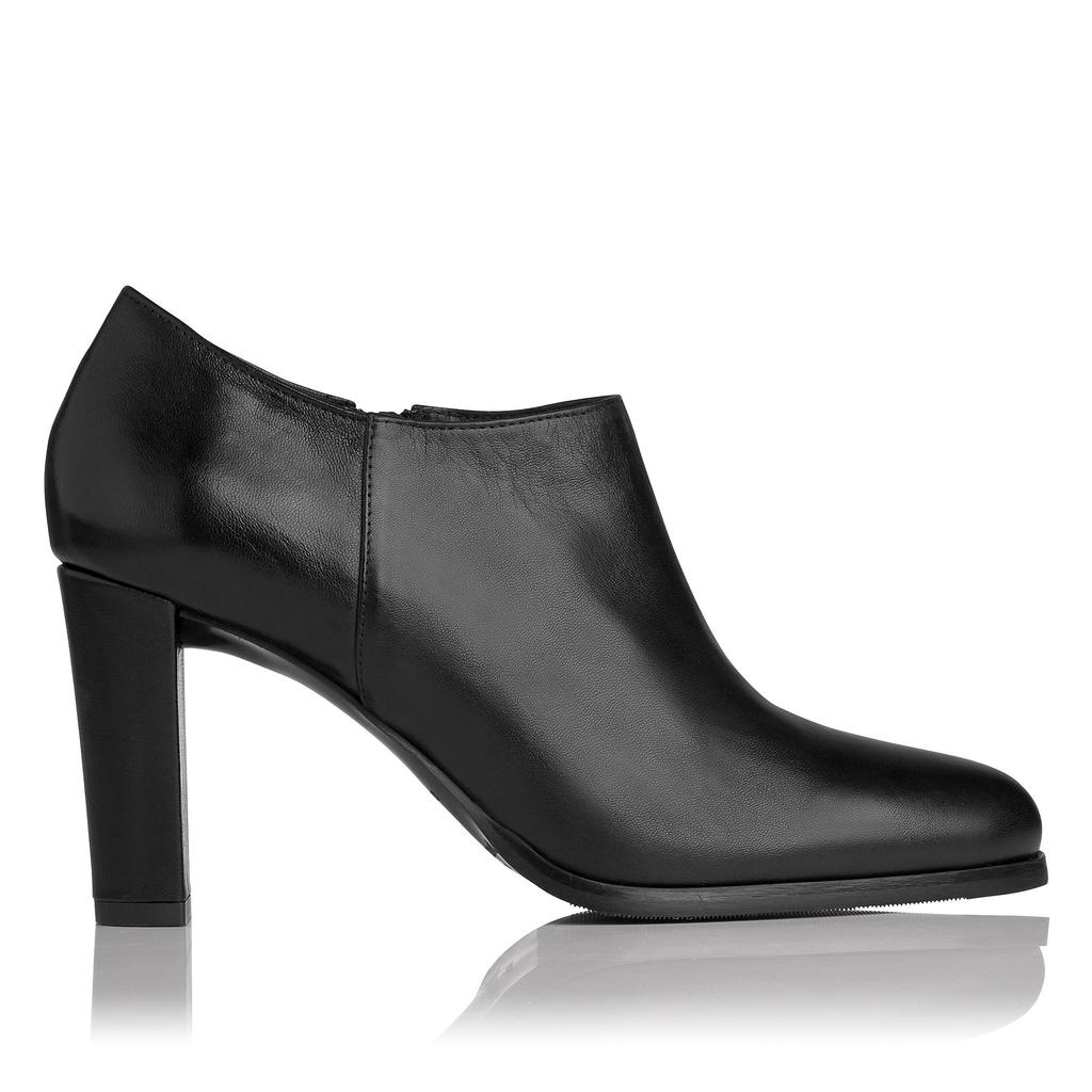 Leela Black Leather Ankle Boots - predominant colour: black; occasions: casual; material: leather; heel height: high; heel: block; toe: pointed toe; boot length: ankle boot; style: standard; finish: plain; pattern: plain; season: s/s 2016; wardrobe: highlight