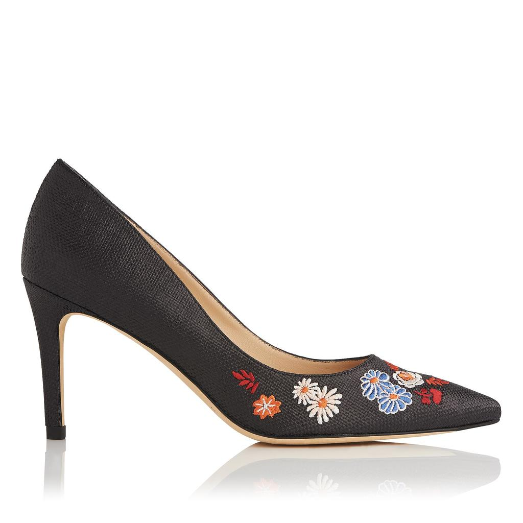 Flavia Raffia Embroidered Courts Black - secondary colour: pale blue; predominant colour: black; occasions: evening; material: leather; heel height: high; embellishment: embroidered; heel: stiletto; toe: pointed toe; style: courts; finish: plain; pattern: florals; multicoloured: multicoloured; season: s/s 2016; wardrobe: event