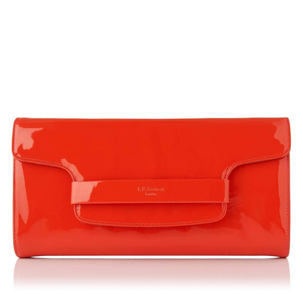 Laura Patent Clutch Orange - predominant colour: bright orange; occasions: evening; type of pattern: standard; style: clutch; length: hand carry; size: small; material: leather; pattern: plain; finish: patent; season: s/s 2016; wardrobe: event