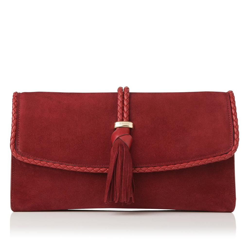 Tracy Leather Clutch - predominant colour: burgundy; occasions: evening; type of pattern: standard; style: clutch; length: hand carry; size: small; material: leather; embellishment: tassels; pattern: plain; finish: plain; season: s/s 2016; wardrobe: event
