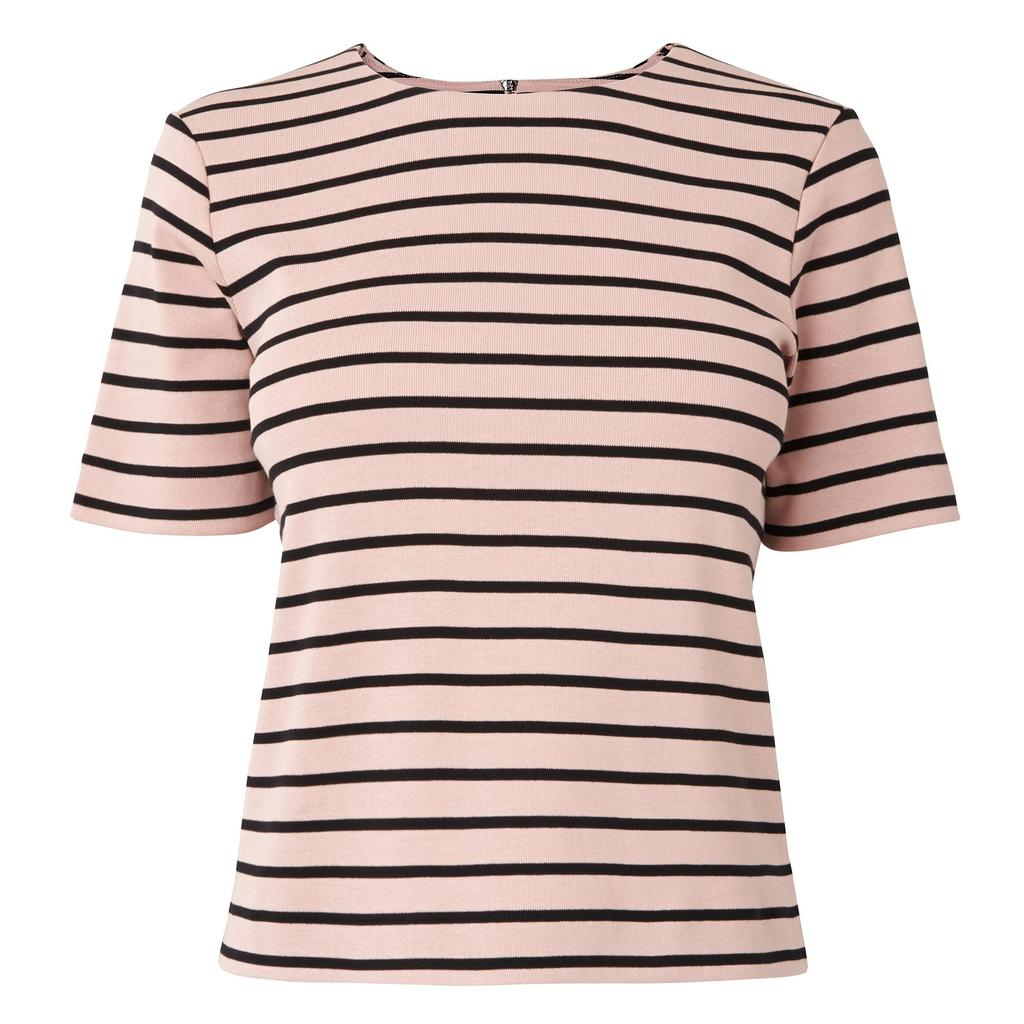 Daphne Cotton T Shirt Multi Black Pink - pattern: horizontal stripes; style: t-shirt; predominant colour: blush; secondary colour: black; occasions: casual; length: standard; fibres: cotton - 100%; fit: body skimming; neckline: crew; sleeve length: short sleeve; sleeve style: standard; pattern type: fabric; texture group: jersey - stretchy/drapey; multicoloured: multicoloured; season: s/s 2016; wardrobe: basic