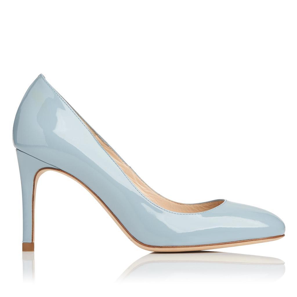 Sasha Blue Patent Courts Blue Eau - predominant colour: pale blue; occasions: evening; material: leather; heel height: high; heel: stiletto; toe: pointed toe; style: courts; finish: patent; pattern: plain; season: s/s 2016