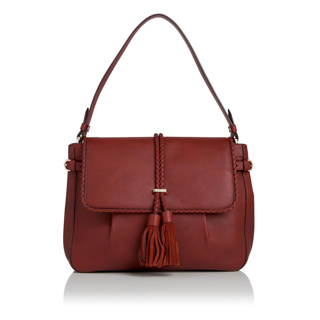 Hazel Russet Leather Shoulder Bag Brown Rust - predominant colour: chocolate brown; occasions: casual; type of pattern: standard; style: shoulder; length: shoulder (tucks under arm); size: standard; material: leather; embellishment: tassels; pattern: plain; finish: plain; season: s/s 2016; wardrobe: investment